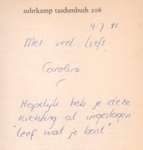 Notitie van Caroline in het boek dat ze mij in 1981 toestuurde.
